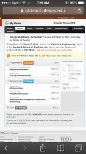 University of Texas Cockrell School of Engineer Acceptance Letter