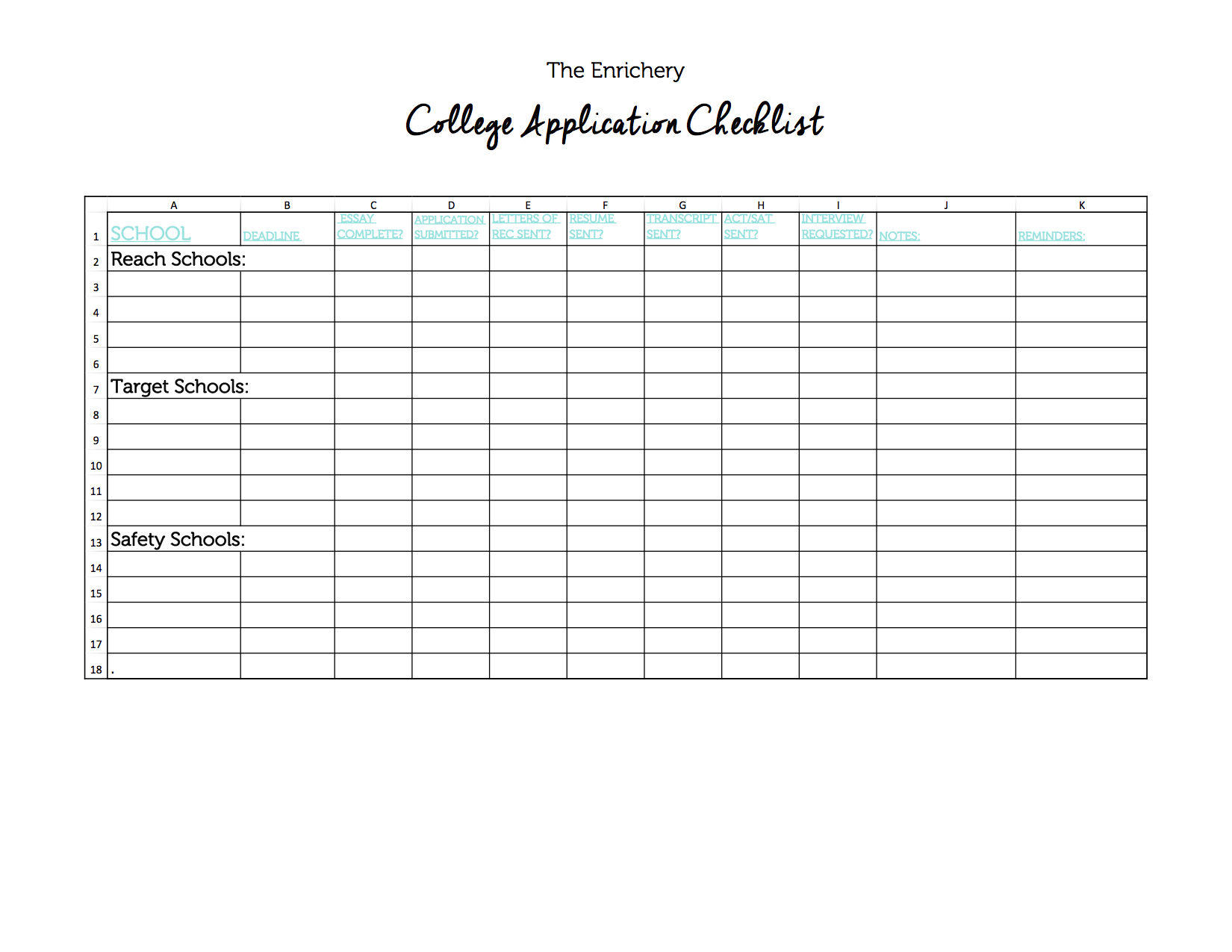 Blank-College Application-Checklist