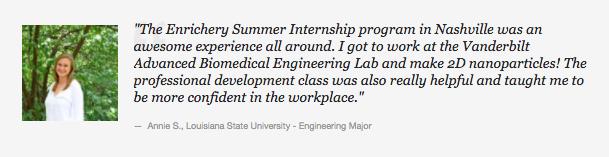 The Enrichery Summer Internship Career Accelerator Program Professional Development Testimonial