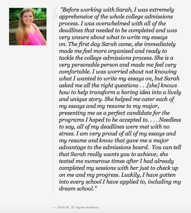 St. Agnes Academy Houston Student College Admissions Workshop Testimonial