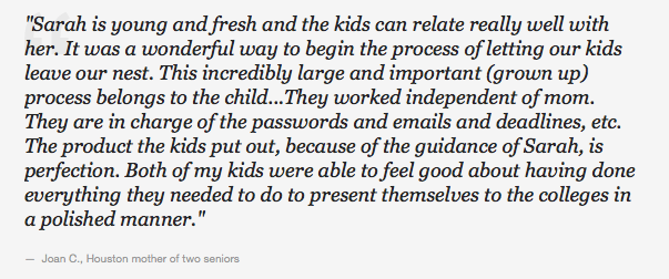 Senior School Student Parent College Admissions Workshop Testimonial