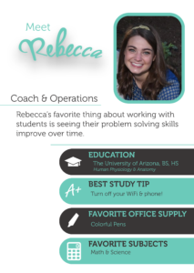 Rebecca is the Director of Marketing, as well as an essay coach, math coach, and science coach at The Enrichery.